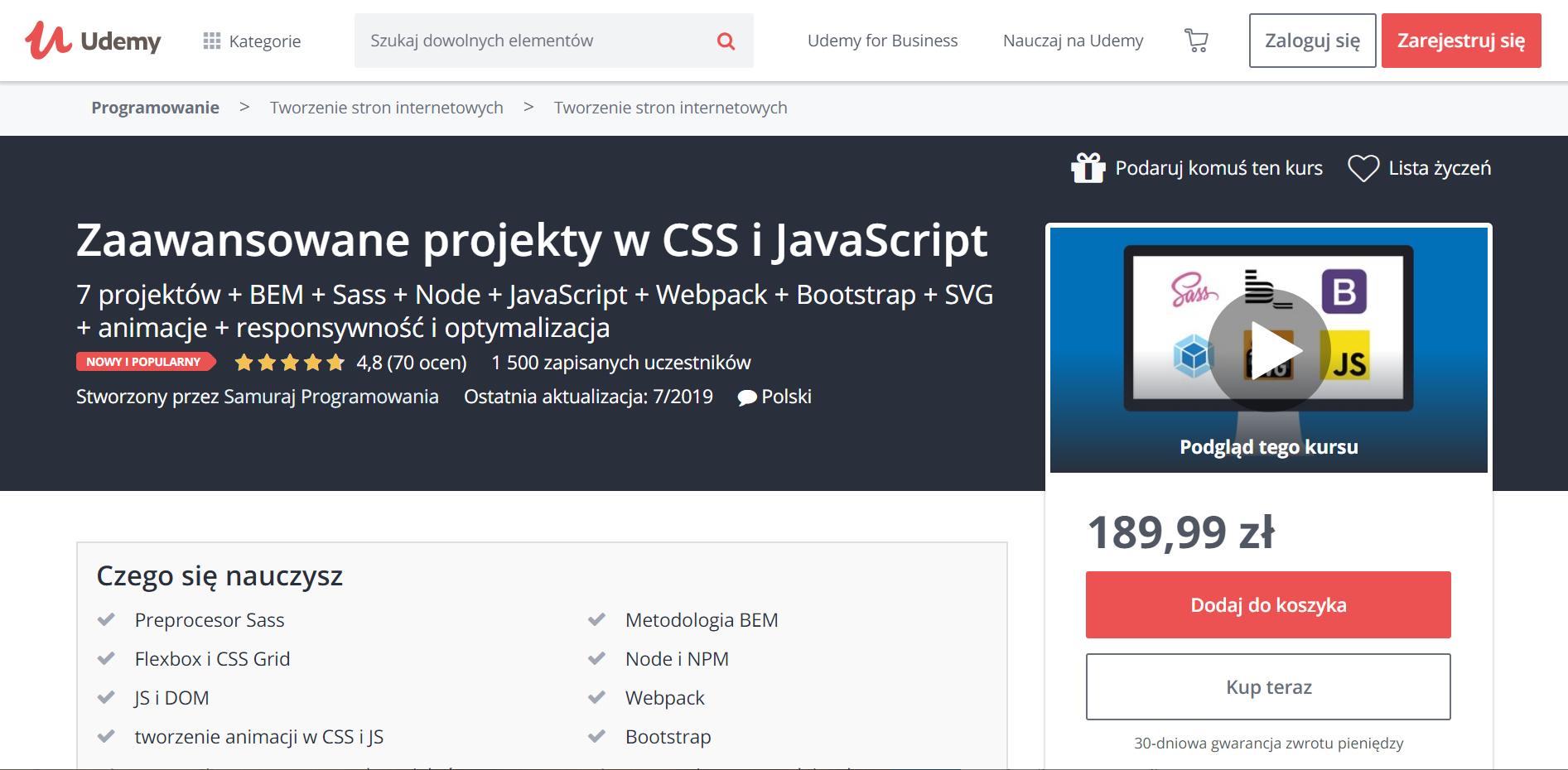 Udemy - zaawansowane projekty w CSS i JavaScript